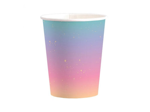 Rainbow ombre and gold foil party cups | Kids party supplies online Australia