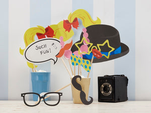 Birthday party photo booth props for a fun celebration! Party supplies online from Party Kit Company