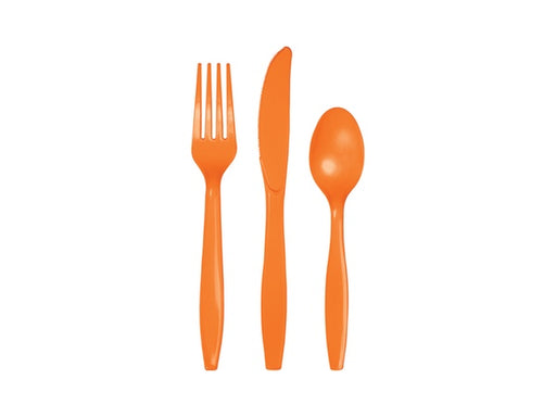 Orange party cutlery | Party supplies online Australia