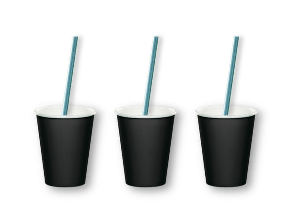 Black party cups and blue straws from Party Kit Company online Australia