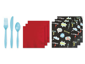 Blue cutlery, red napkins and superhero napkins | Superhero party in a box online Australia