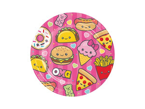 Tasty party plates with Pizza, hotdogs, donuts and ice cream! Unique kids party themes online