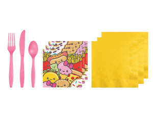 Junk food fun napkins and cutlery | Unique kids party themes online Australia