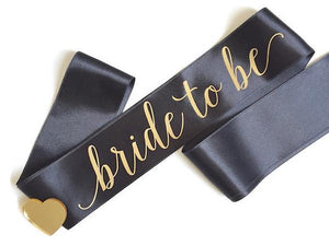 Party Kit Company - Decorations Favours and Dress-ups Black 'Bride to Be' Hen's Party Sash