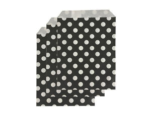 Party Kit Company - Tableware Favour Bags Black Polka Dot Paper Party Bags (25pk)