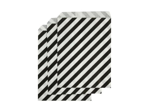 Party Kit Company - Tableware Favour Bags Black Stripe Paper Party Bags (25pk)