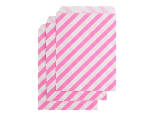 Party Kit Company - Tableware Favour Bags Candy Pink Stripe Paper Party Bags (25pk)