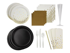 Party Kit Company Party Kits CLASSY BLACK AND GOLD PARTY KIT