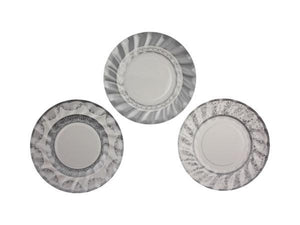 Party Kit Company - Tableware Plates Fancy Silver and White Cake plates (12pk)