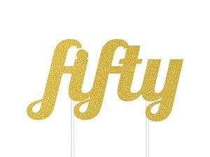 Party Kit Company - Decorations Baking and Candles 'Fifty' Gold Glitter Cake Topper
