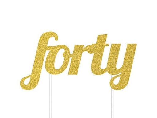 Party Kit Company - Decorations Baking and Candles 'Forty' Gold Glitter Cake Topper