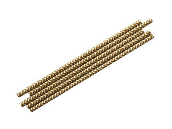 Party Kit Company - Tableware Straws Gold Chevron Straw (25pk)