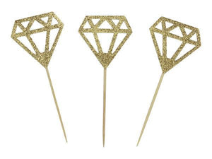 Party Kit Company - Decorations Baking and Candles Gold Glitter Gem Cupcake Toppers (24pk)
