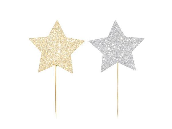 Party Kit Company - Decorations Baking and Candles Gold & Silver Glitter Star Reversible Cupcake Topper (12pk)