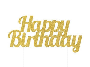 Party Kit Company - Decorations Baking and Candles 'Happy Birthday' Gold Glitter Cake Topper