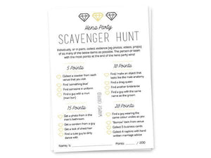 Party Kit Company - Decorations Favours and Dress-ups Hen's Party Scavenger Hunt Cards