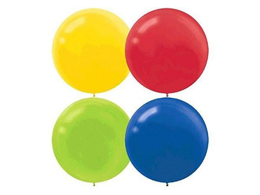 Party Kit Company - Decorations Balloons and Balls Primary Mix Jumbo 60cm Balloons (4pk)