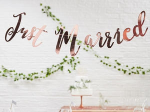 Party Kit Company - Decorations Garlands and Bunting 'Just Married' Rose Gold Party Garland
