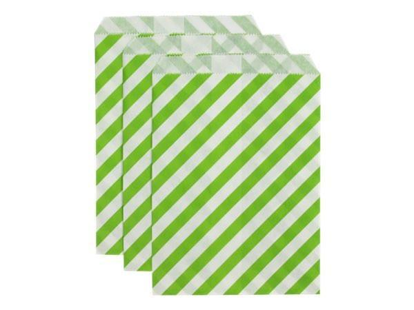 Party Kit Company - Tableware Favour Bags Lime Stripe Paper Party Bags (25pk)