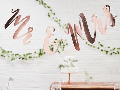 Party Kit Company - Decorations Garlands and Bunting 'Mr and Mrs' Rose Gold Party Garland
