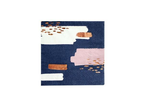 Party Kit Company - Tableware Napkins Navy and Rose Gold Glam Cocktail Napkins (20pk)