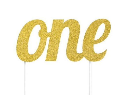 Party Kit Company - Decorations Baking and Candles 'One' Gold Glitter Cake Topper