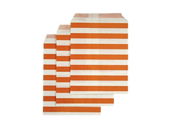 Party Kit Company - Tableware Favour Bags Orange Horizontal Stripe Paper Party Bags (25pk)