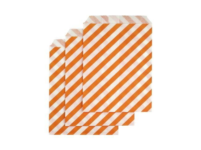 Party Kit Company - Tableware Favour Bags Orange Stripe Paper Party Bags (25pk)