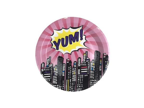 Party Kit Company - Tableware Plates Pink Superhero Lunch Plates (8pk)