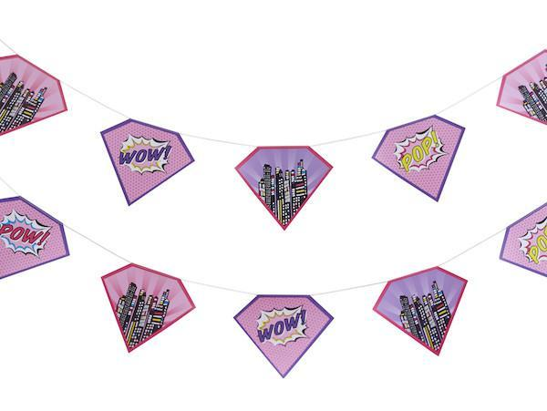 Party Kit Company - Decorations Garlands and Bunting Pink Superhero Party Bunting