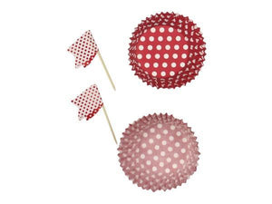 Party Kit Company - Decorations Baking and Candles Red Spot Cupcake Wrappers and Flag Toppers (24pk)
