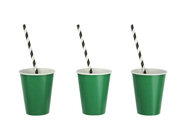 Green Party Cups and Striped paper straws | Party Supplies and decorations online Australia