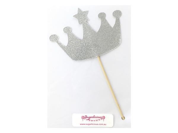 Party Kit Company - Decorations Baking and Candles Silver Glitter Crown Cake Topper