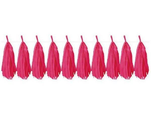 Party Kit Company - Decorations Garlands and Bunting Hot Pink Tissue Tassel Garland