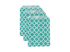 Party Kit Company - Tableware Favour Bags Turquoise Trellis Paper Party Bags (25pk)