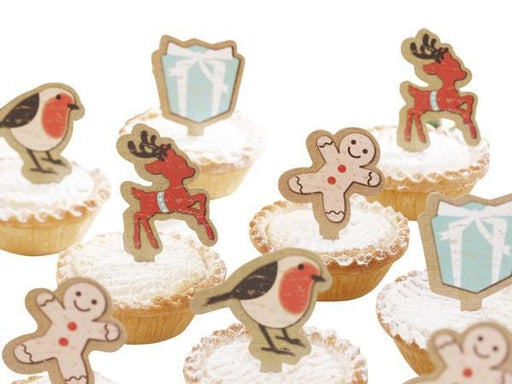 Party Kit Company - Decorations Baking and Candles Vintage Noel Mince Pie Cupcake Toppers (12pk)