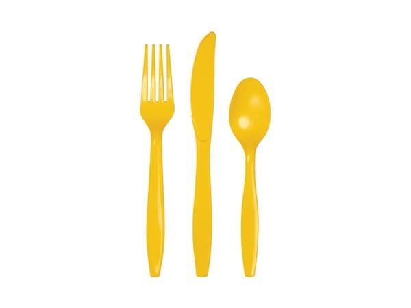 Party Kit Company - Tableware Cutlery Yellow Party Cutlery (24pk)