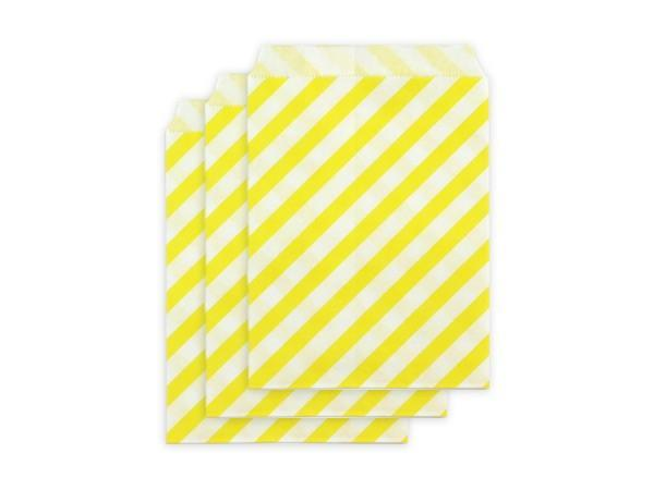 Party Kit Company - Tableware Favour Bags Yellow Stripe Paper Party Bags (25pk)