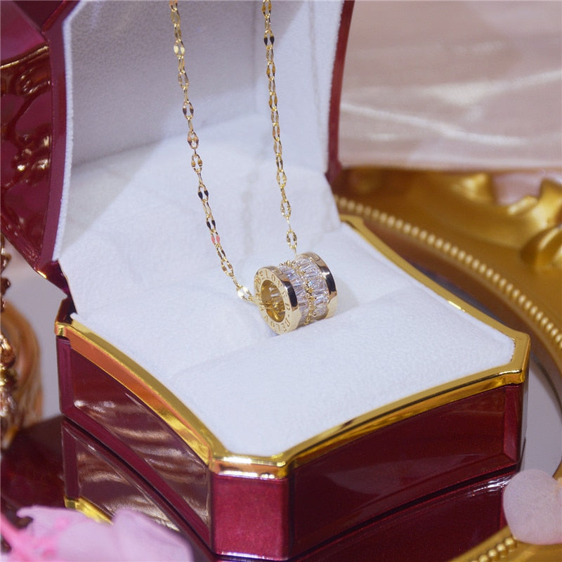 Cubic Zirconia Gold Pendant Necklace