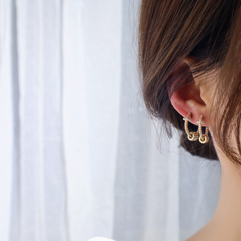 Gold Buckle Earrings