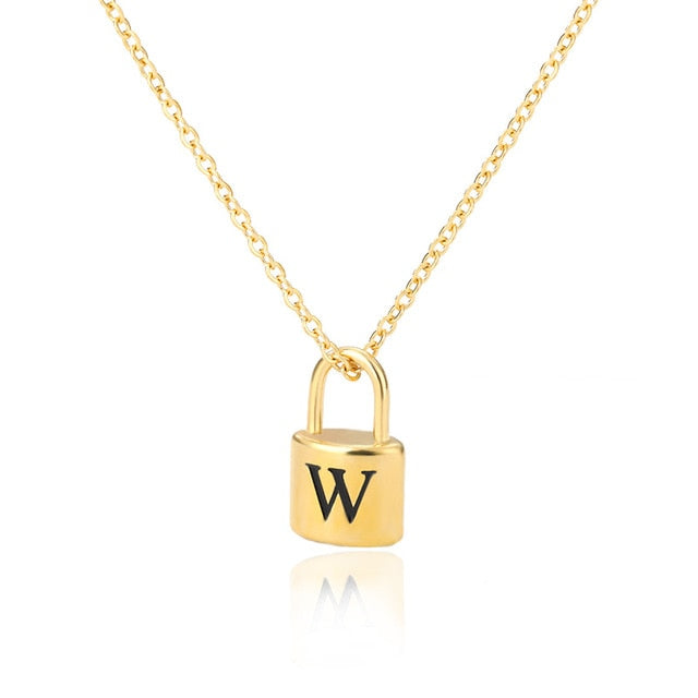 Padlock Necklace Initial