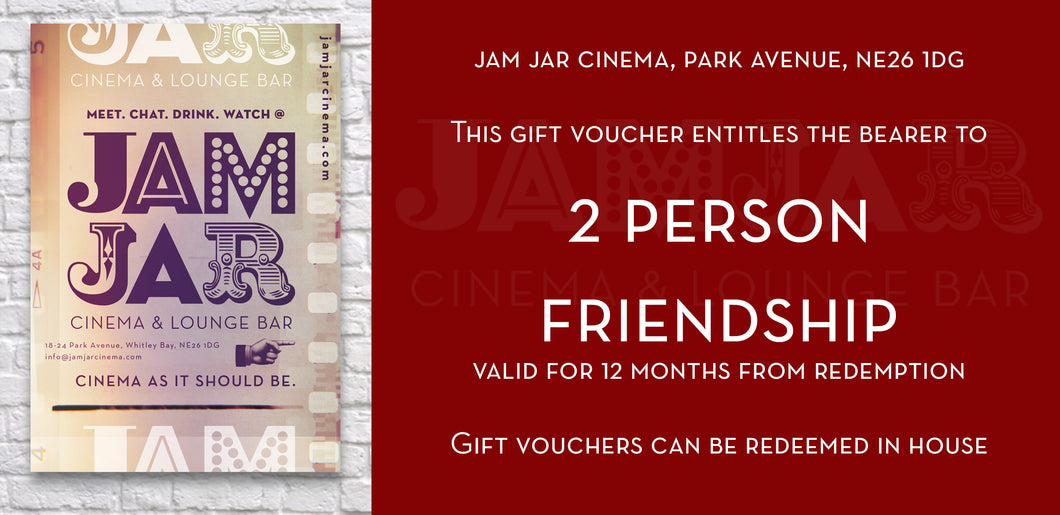Jam Jar Cinema 2 Person Friendship Voucher