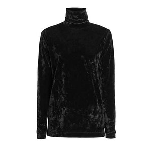 Black Long Sleeve Crushed Velvet Turtleneck