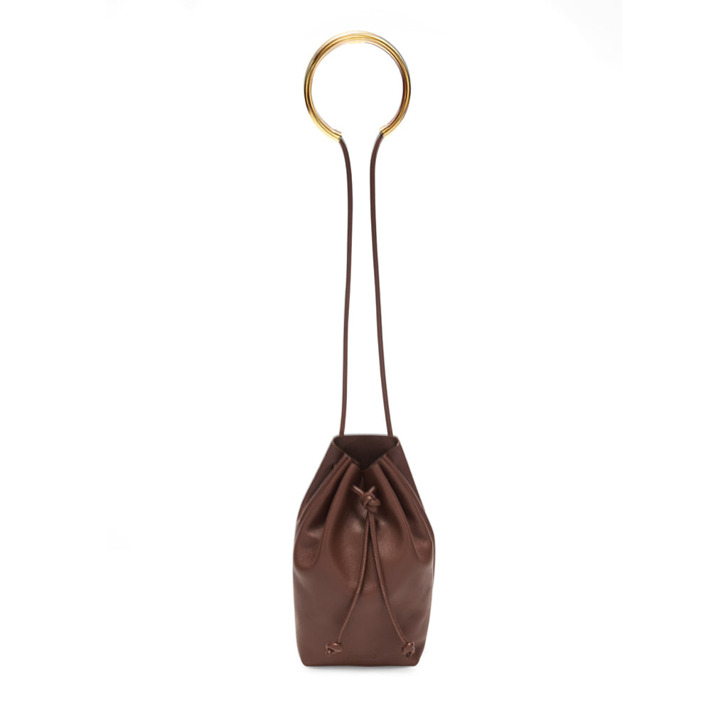 Brown Bracelet-handle Drawstring Leather Pouch