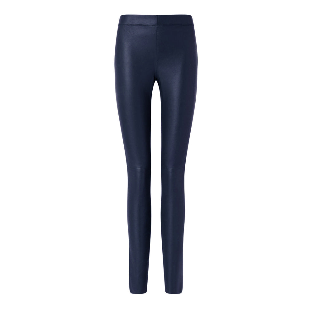 Dark Navy Leather Stretch Leggings