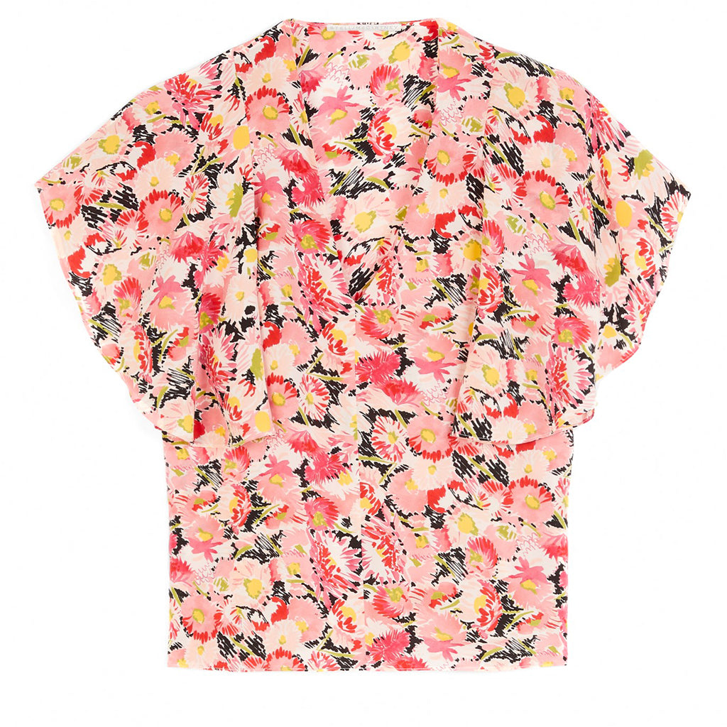 Pink Mallory Watercolor Floral Printed Silk Blouse