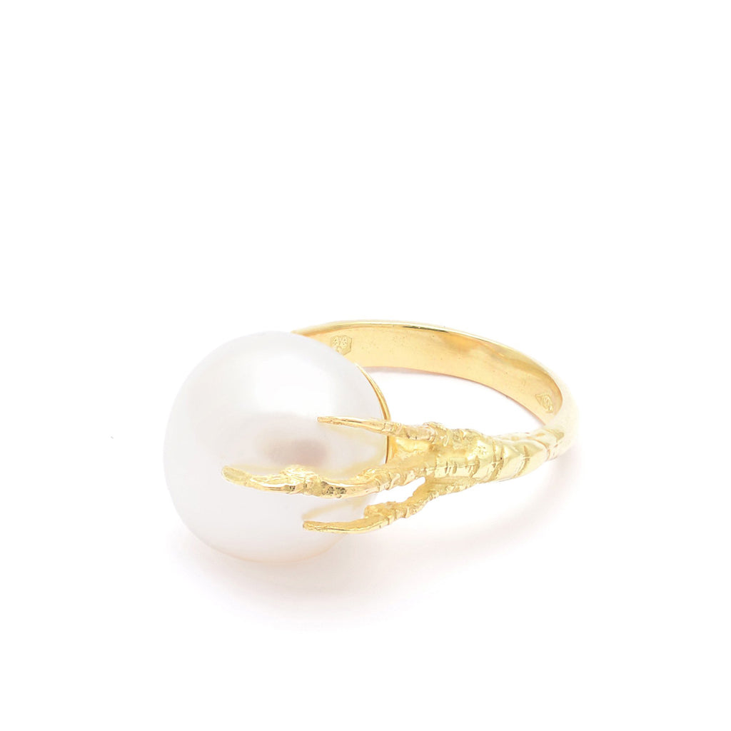 18kt Gold Statement Crow's Feet Ring With Freshwater Pearl