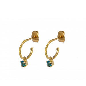18kt Gold Hoop Earrings With London Blue Topaz