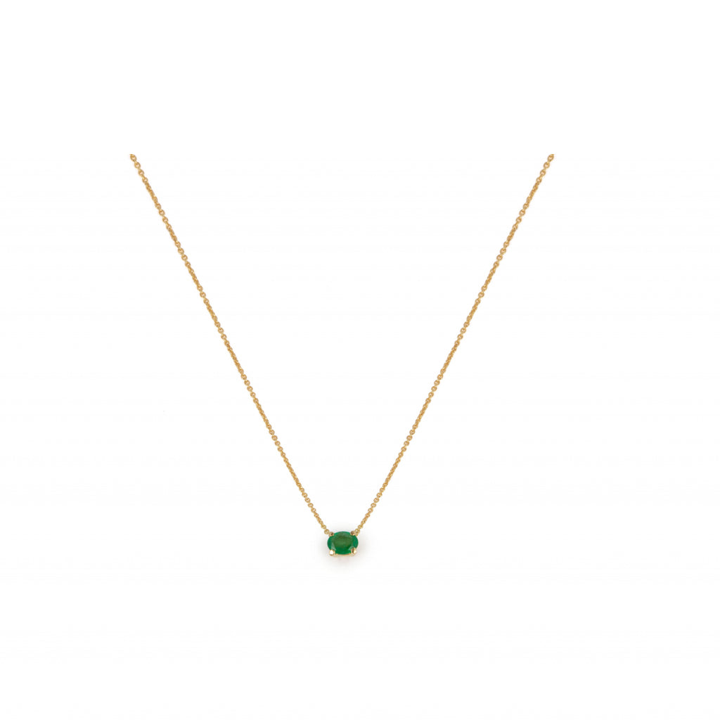 18kt Gold Necklace With Emerald