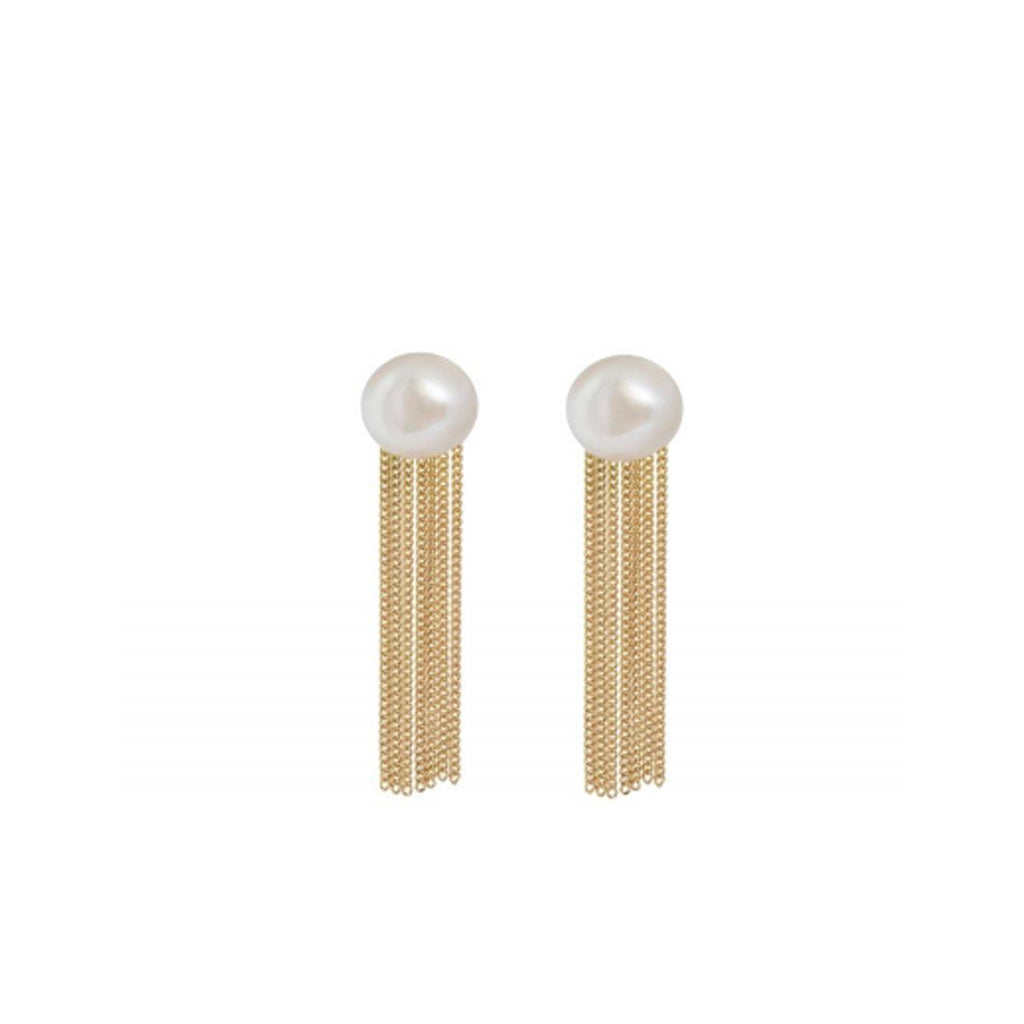 18kt Gold Chain Fringe Stud Earrings With Freshwater Pearl
